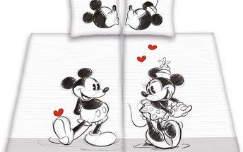 Bavlněné povlečení Minnie and Mickey Mouse partner, 140 x 200 cm, 70 x 90 cm