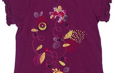 Dívčí halenka s kytičkami - fialová