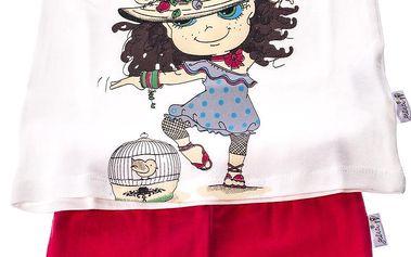 Dívčí souprava trička a kalhot - červeno-bílá