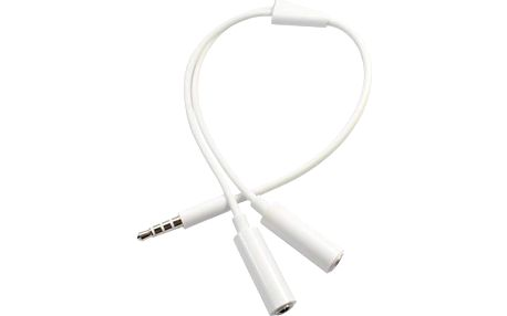 Bílá rozdvojka do sluchátkového konektoru - 3,5 mm jack
