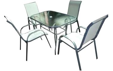 Zahradní set stůl sklo + 4 židle