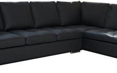SCONTO GRANADA rohová sedací souprava z textilní kůže černé barvy