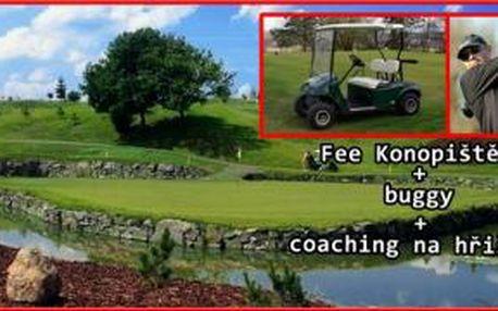Vylepšete svůj golfový projev na hřišti. Zahrajte si 18 jamek s bugynou na Konopišti, nechte se koučovat profesionálním trenérem Daliborem Směšným při hře a získejte videoanalýzu vaší hry..
