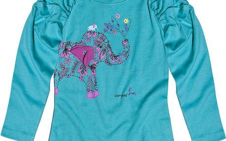 Dívčí modrý top se slonem