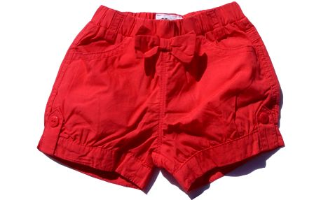 Dívčí šortky s mašlí - červené