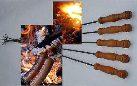 Sada 10 jehel s dřevěnou rukojetí na opékání špekáčků a masa!