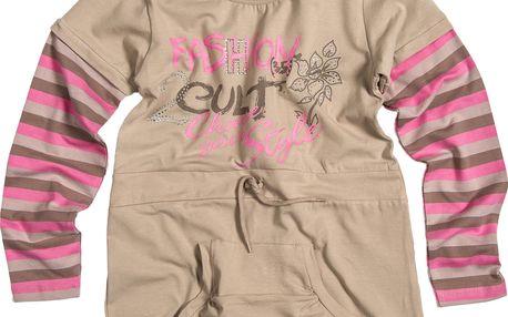 Dívčí tunika s pruhovanými rukávy