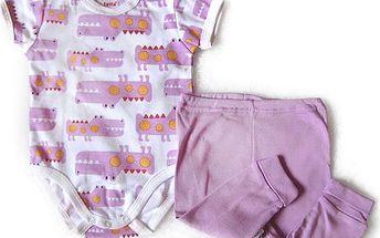 Dívčí souprava - body s kalhotami - světle růžová