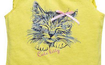 Dívčí tričko s kočičkou - žluté