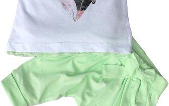Dívčí komplet s tílkem a kalhotami - zelená, bílá