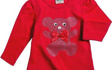 Červený top s lesklým medvídkem
