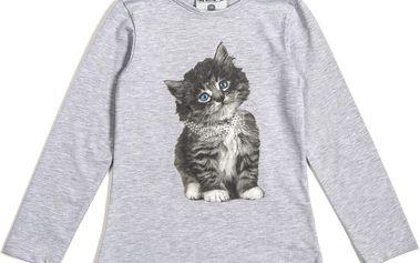 Šedé tričko s kočičkou