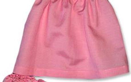 Růžové lněné šatečky