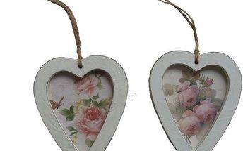 Set 2 dekorativních závěsných srdcí Wooden