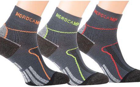 Nordcamp Sportovní unisex ponožky, 3ks, SOCKSRUNBIKEBLACK-LOTDE3