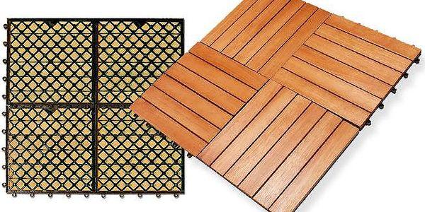 Dlaždice z lakovaného dřeva 30x30 cm s jednoduchou instalací na balkon i zahradu