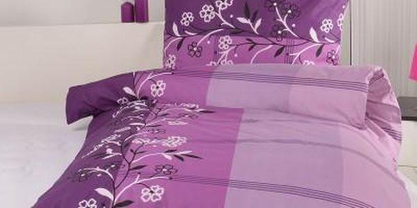 XPOSE ® Prodloužené bavlněné povlečení na dvě lůžka ADINA - fialová 140x220, 70x90