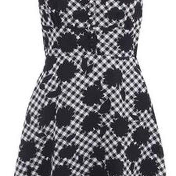 Černo-bílé kostkované šaty Fever London Beatrix