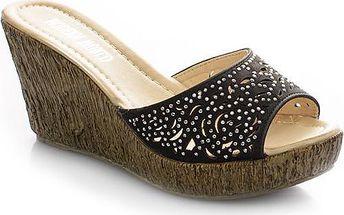 Pantofle na klínku MD7100-1B