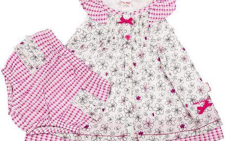 Dívčí květované šaty s kalhotkami - bílé