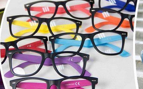 Barevné nedioptrické brýle nebo sluneční brýle. Kupte dvě sady a máte 4 super doplňky!