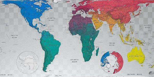 Magnetická mapa světa Future Map 101x57 cm, modro-růžové odstíny - doprava zdarma!
