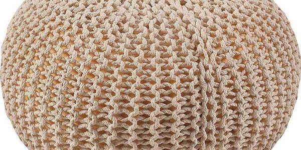 Pletený puf In Beige, 40x40x20 cm