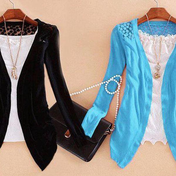 Dámský svetřík s nadčasovou krajkou a dlouhým rukávem v 5 barevných variantách