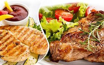 Mix grill – 600 g šťavnatého masa. Vepřová kotleta, krkovice, kuřecí prsa, salát a 3x 200g přílohy dle výběru!