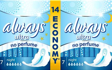 Vložky Always Ultra Night bez obsahu parfému (14ks)