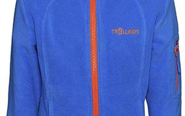 Modrá flísová bunda s oranžovými zipy