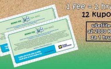 Hrajte na více než 50 různých golfových hřištích v ČR i blízkém zahraničí a plaťte jen 1 green fee za 2 hráče. Balíček 12 ks kupónů 1fee=2hráči pro rok 2015 získáte jen za 379 Kč!