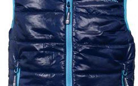 Trollkids Dětská tmavě modrá vesta se světle modrým lemem