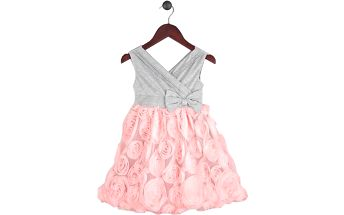 Dívčí společenské šaty FANNY - růžovo - šedé
