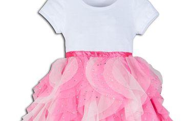 Dívčí společenské šaty DANIELLA - růžovo - bílé
