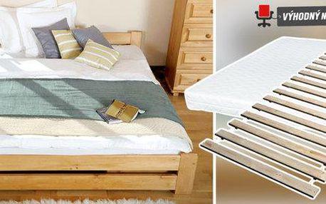 Masivní postele z přírodní borovice + rošt