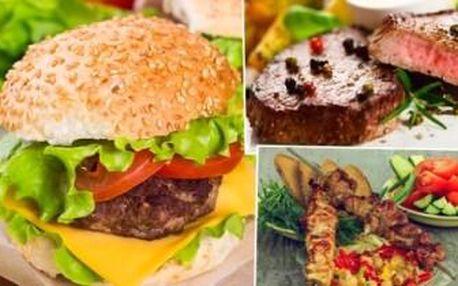 Pošmákněte si na pořádné NÁLOŽI MASA! 1,2 kg steaku, špízu, burgeru a 2 druhy příloh.