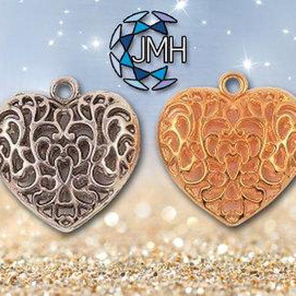Sada 4 přívěsků ve tvaru srdce