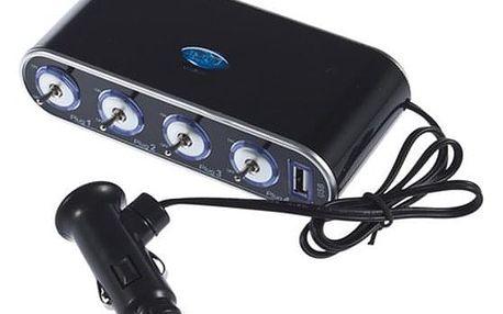 12V/24V čtyřnásobný rozbočovač autozásuvky s USB