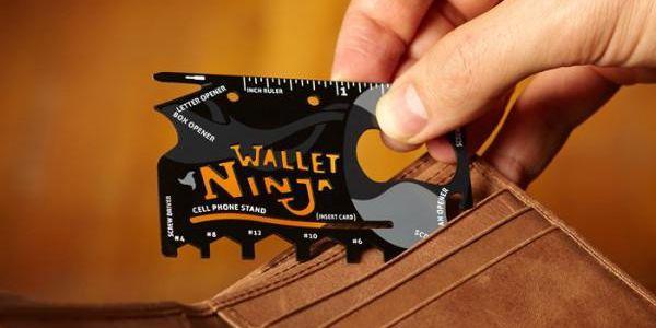 Ocelová multifunkční karta nářadí 18v1 Wallet Ninja!