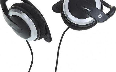 Stereo sluchátka Earhook 3,5mm - černostříbrné