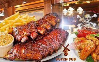 500g barbecue VEPŘOVÁ ŽEBRA + 1kg red hot CHICKEN WINGS + 200g HRANOLKY + salát v Dutch Pub, Praha 1!
