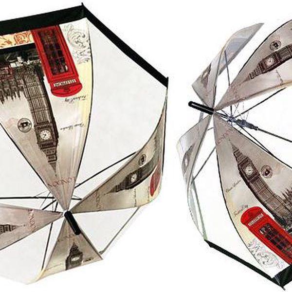 Průhledný deštník s motivem Londýna pro 2 osoby