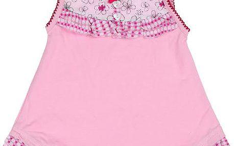 Dívčí tunika s kvítky - růžová