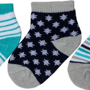 Chlapecká sada ponožek (0-6 měsíců) - 3 páry - modré, šedé a bílé