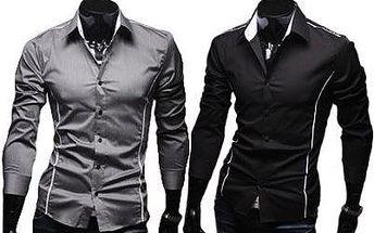 Pánská košile Slim Fit s dlouhým rukávem. 3 barvy včetně poštovného.