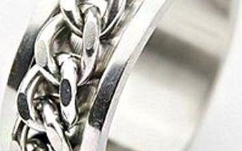 Pánský titanový prsten zdobený řetízkem - 5 velikostí