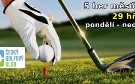 Hrajete golf rádi a často - získejte 5 her na každý měsíc k čerpání na 29 hřištích kdykoliv od pondělí do neděle až do konce roku. Hodnota green fee je až 45000 Kč
