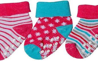 Dívčí sada ponožek (0-6 měsíců) - 3 páry - růžové, sv. modré a bílé