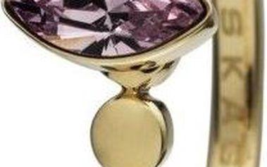Značkový SKAGEN prsten z chirurgické oceli ve zlaté barvě s fialovým kamenem velikost 5